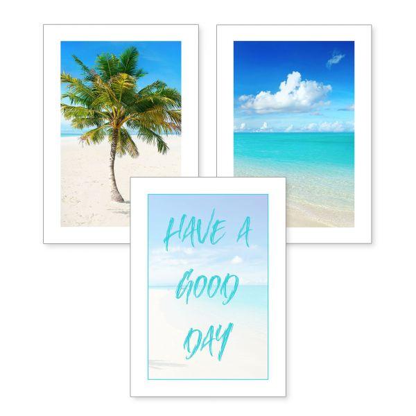 3-teiliges Poster-Set | Good Day | optional mit Rahmen | DIN A4 oder A3