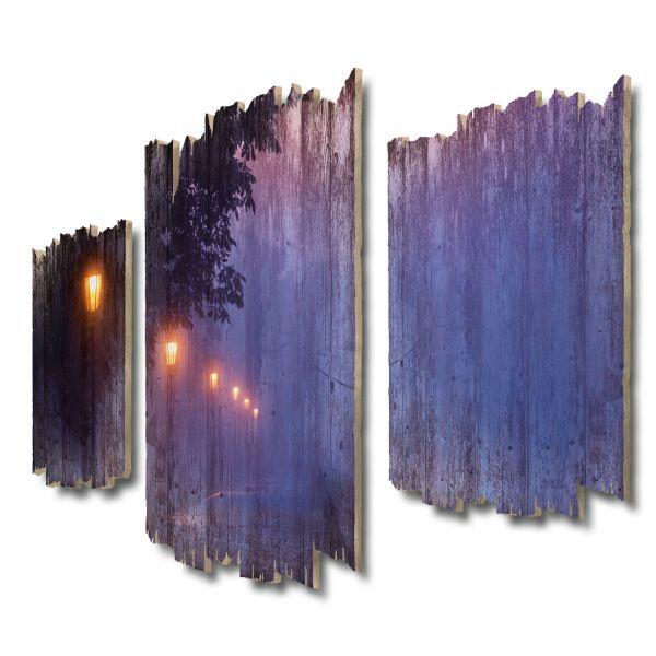 Laternen Shabby chic 3-Teiler Wandbild aus Massiv-Holz