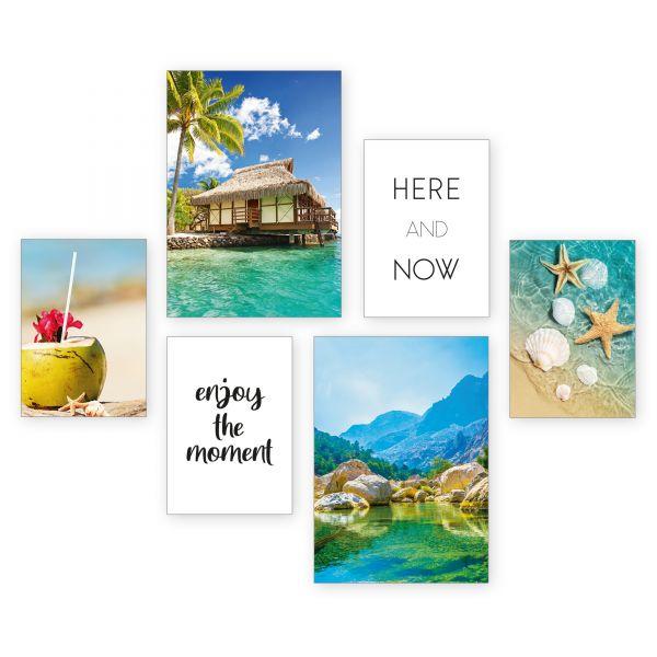 """Tropical Island"" 6-teiliges Poster-Set - optional mit Rahmen - 2 x DIN A3 & 4 x DIN A4"