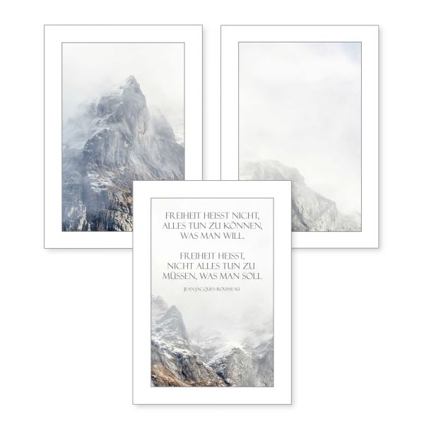 3-teiliges Poster-Set | Freiheit | optional mit Rahmen | DIN A4 oder A3