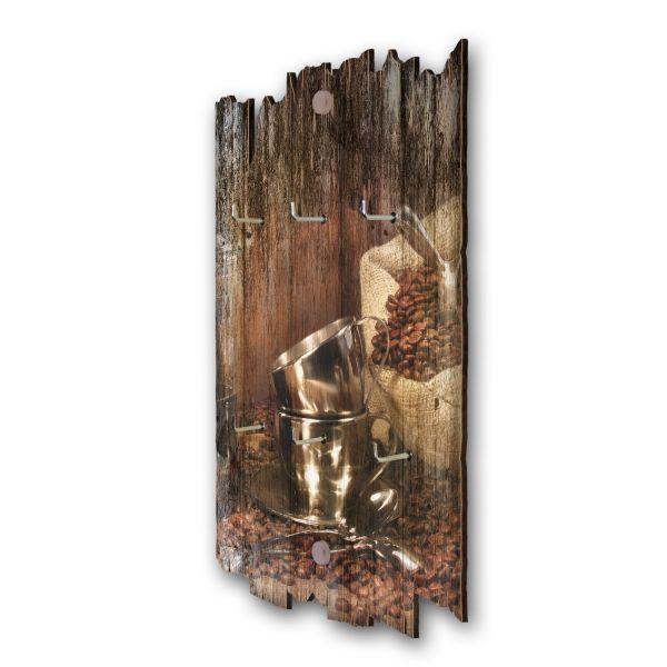 Kaffeebohnen Schlüsselbrett mit 6 Haken im Shabby Style aus Holz