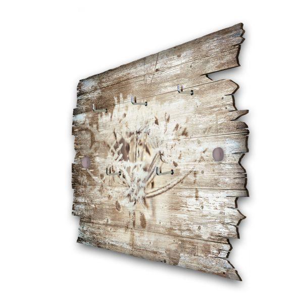 Eisblumen Schlüsselbrett mit 5 Haken im Shabby Style aus Holz