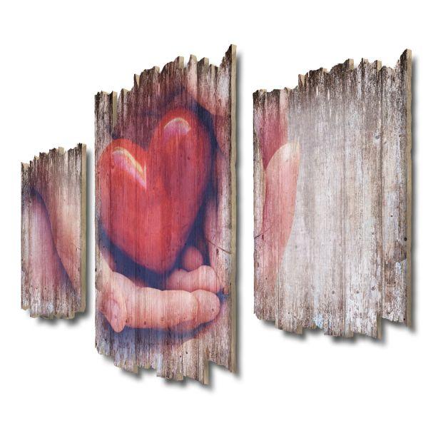 Herz Shabby chic 3-Teiler Wandbild aus Massiv-Holz