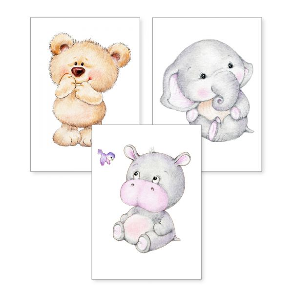 3-teiliges Poster-Set   Teddy & Co   optional mit Rahmen   DIN A4 oder A3