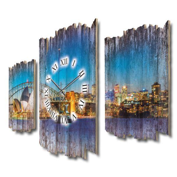 Skyline Sydney Shabby chic Dreiteilige Wanduhr aus MDF mit leisem Funk- oder Quarzuhrwerk