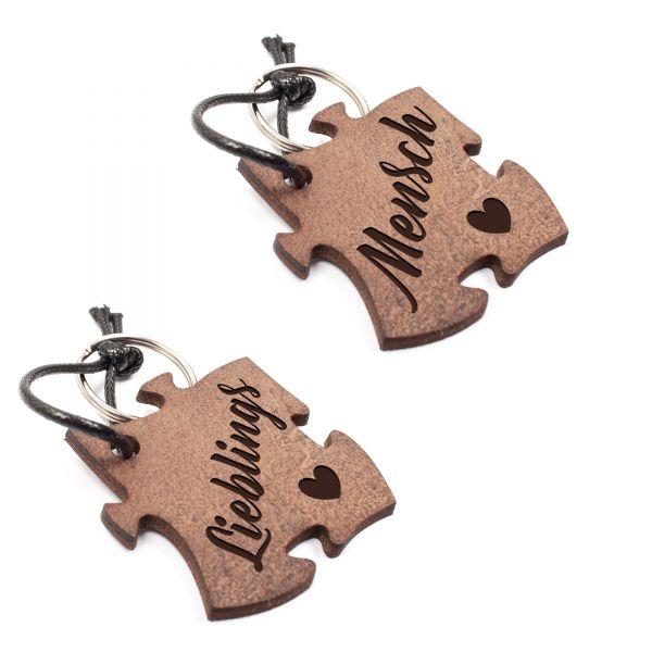 Set 2 Schlüsselanhänger Puzzle aus Echtleder mit Gravur im Used Look | Lieblings Mensch