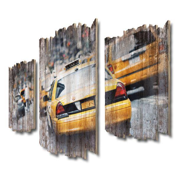 Taxi New York Shabby chic 3-Teiler Wandbild aus Massiv-Holz