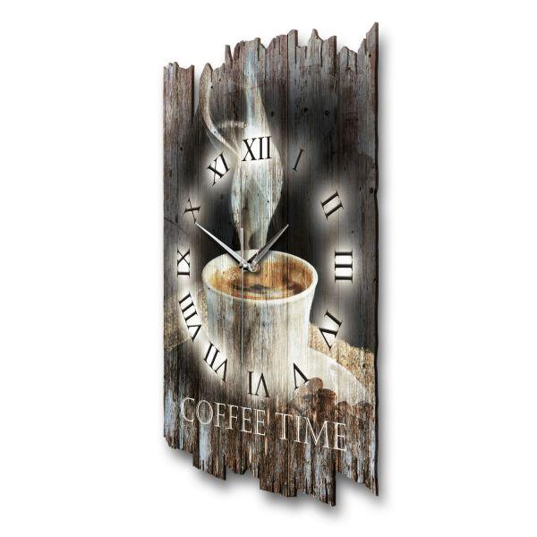 """Designer Funk-Wanduhr """"Coffee Time"""" aus Naturholz mit leisem Funk- oder Quarzuhrwerk"""
