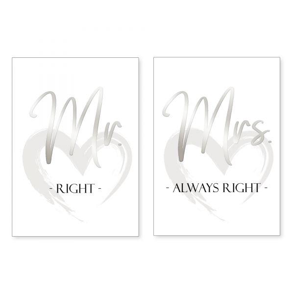 """Mr & Mrs"" mit Chrom-Effekt veredeltes Poster - optional mit Rahmen - 2x DIN A4"