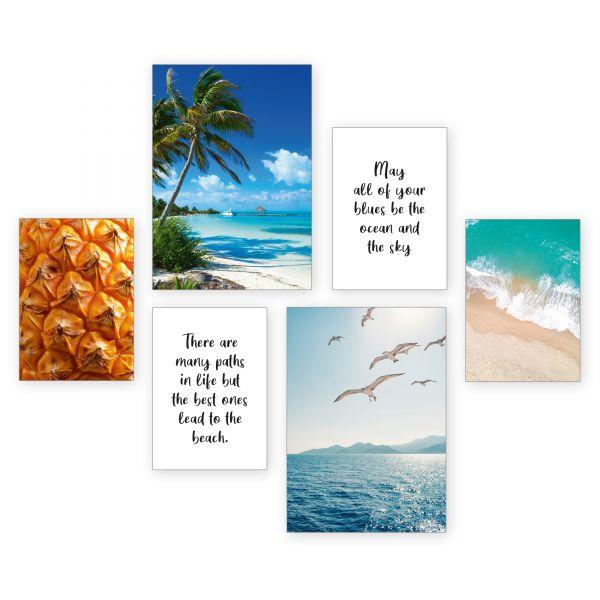 """Tropical Beach"" 6-teiliges Poster-Set - optional mit Rahmen - 2 x DIN A3 & 4 x DIN A4"