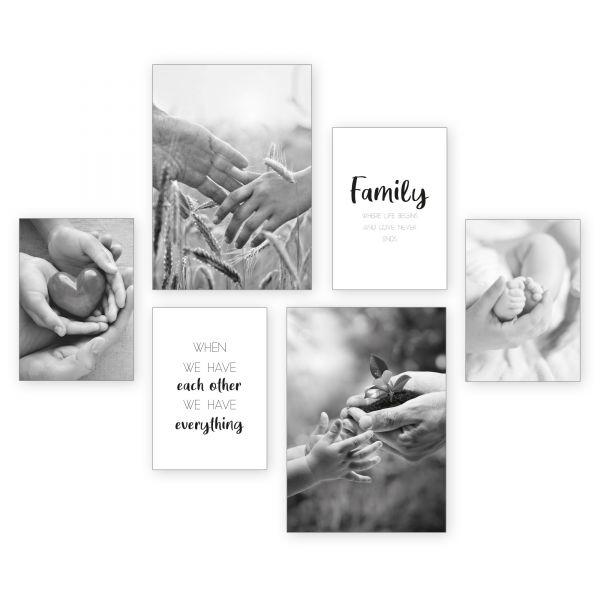 """Family"" 6-teiliges Poster-Set - optional mit Rahmen - 2 x DIN A3 & 4 x DIN A4"