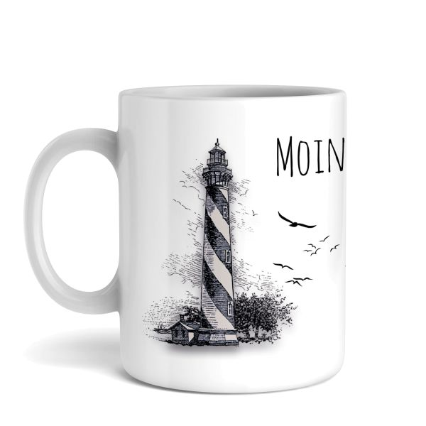 Tasse mit Motiv   Moin   Keramiktasse   fasst ca. 300ml   ideales Geschenk