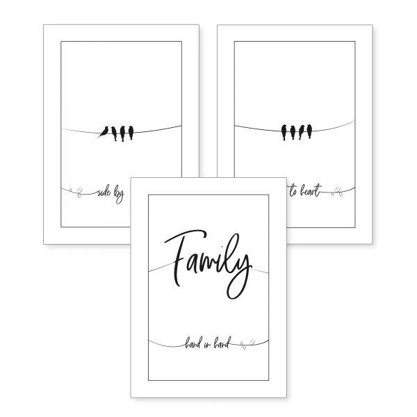 3-teiliges Poster-Set | Family | optional mit Rahmen | DIN A4 oder A3
