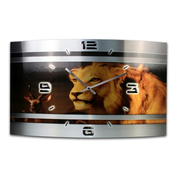 Wanduhr Löwe Metallic aus gebürstetem Aluminium mit leisem Funkuhrwerk