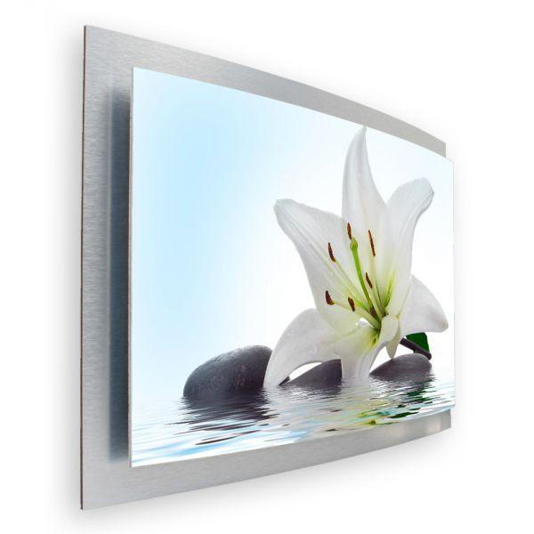 3D Wandbild Lilie Natur aus gebürstetem Aluminium
