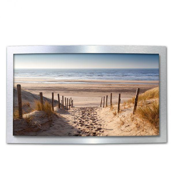 3D Wandbild Sandstrand Meer aus gebürstetem Aluminium