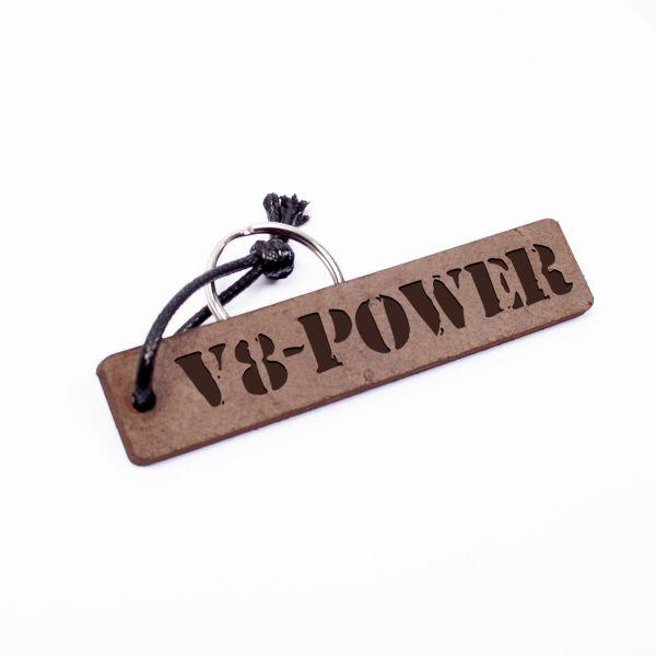 Schlüsselanhänger Rechteck aus Echtleder mit Gravur im Used Look   V8 Power