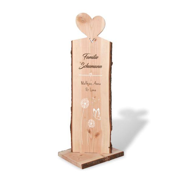Pusteblumen | Holzstele personalisiert mit Ihrem Wunsch-Text | ideale Deko für Haustür oder Garten