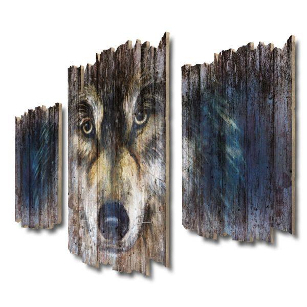 Wolfsblick Shabby chic 3-Teiler Wandbild aus Massiv-Holz