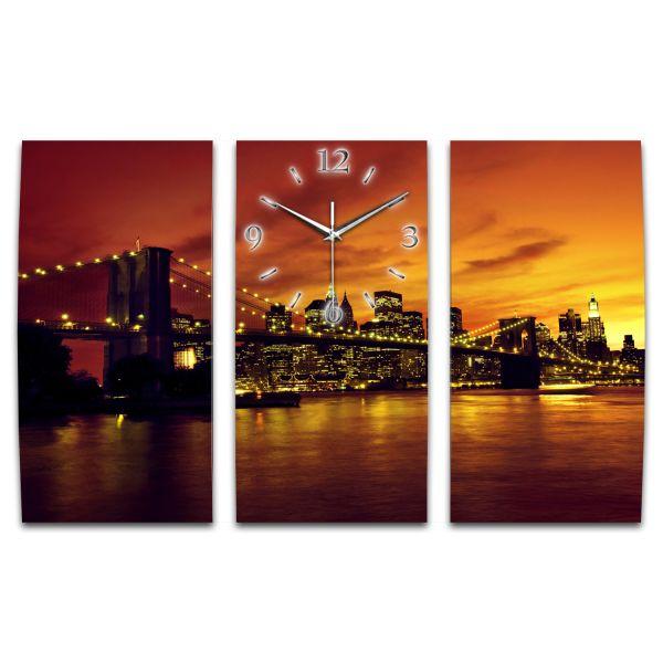 3 Teilige Wanduhr New York XXL aus Aluminium mit leisem Funkuhrwerk