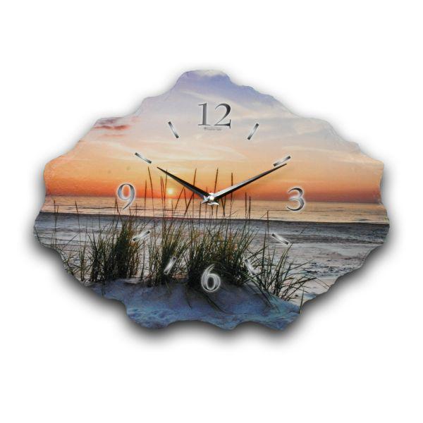Sandstrand Designer Funk-Wanduhr aus echtem Naturschiefer mit leisem Funkuhrwerk