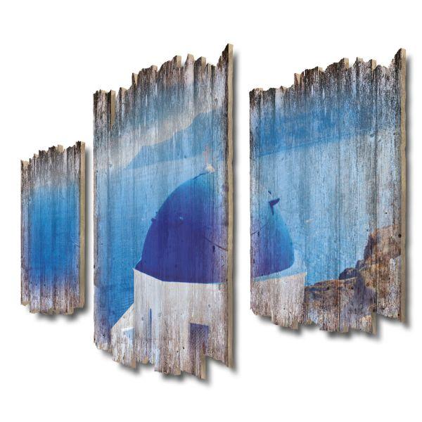 Blaue Kuppel Shabby chic 3-Teiler Wandbild aus Massiv-Holz