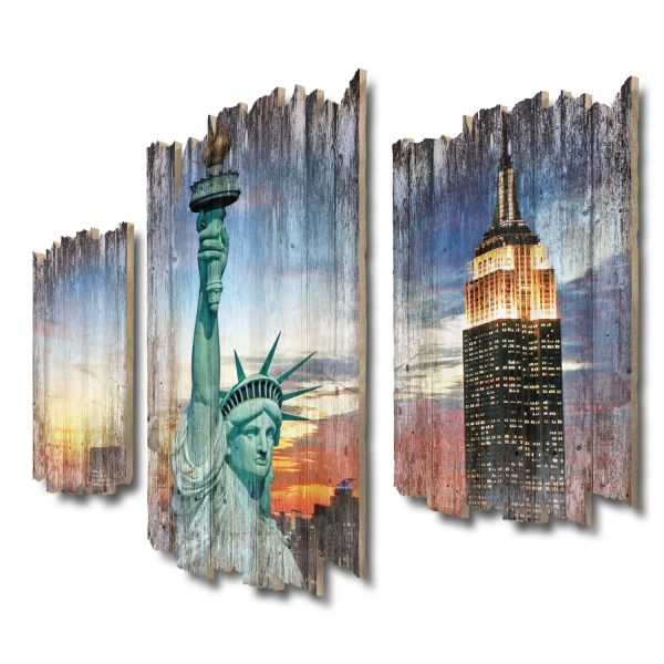New York Shabby chic 3-Teiler Wandbild aus Massiv-Holz