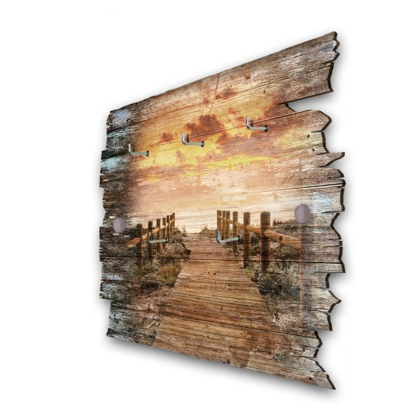 Holzsteg zum Meer Schlüsselbrett mit 5 Haken im Shabby Style aus Holz
