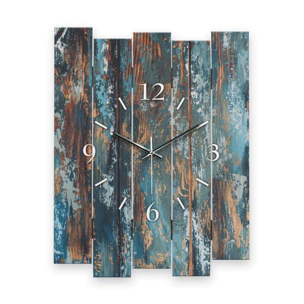 """Designer Wanduhr """"Altes Holz Blau"""" aus MDF mit leisem Funk- oder Quarzuhrwerk"""