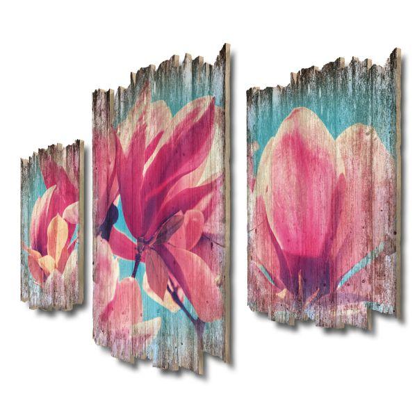 Magnolienblüten Shabby chic 3-Teiler Wandbild aus Massiv-Holz