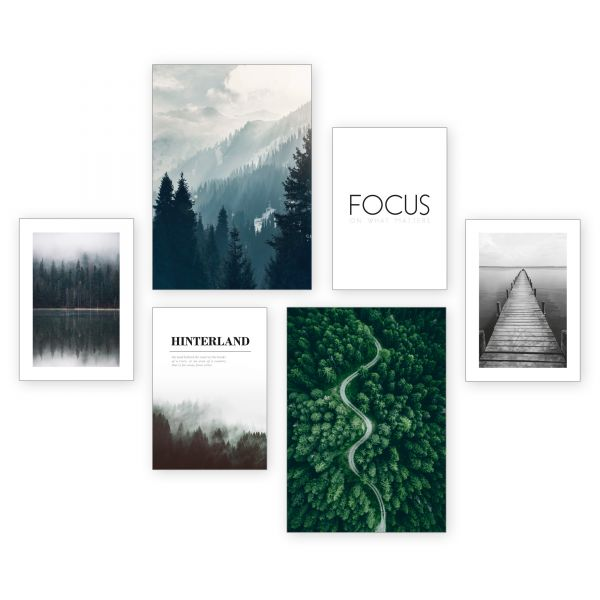 """Focus"" 6-teiliges Poster-Set - optional mit Rahmen - 2 x DIN A3 & 4 x DIN A4"