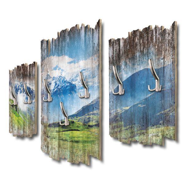Schweizer Alpenpanorama Shabby chic 3-Teiler Garderobe aus MDF