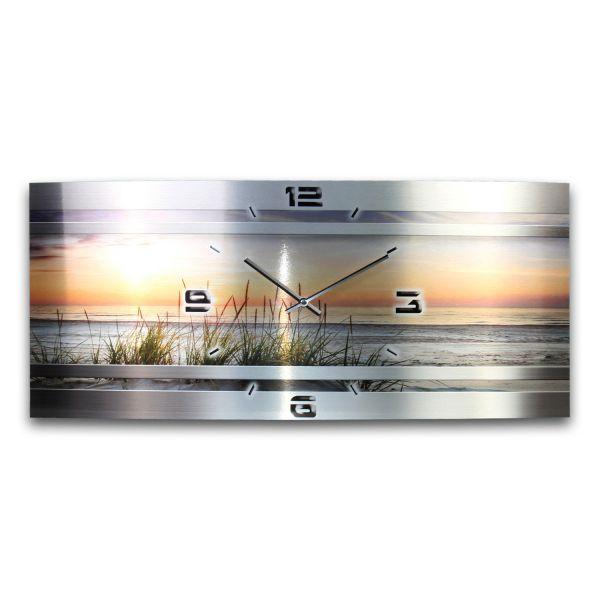 Wanduhr Chill Out Metallic aus gebürstetem Aluminium mit leisem Funkuhrwerk
