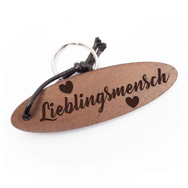 Schlüsselanhänger oval aus Echtleder mit Gravur im Used Look | Lieblingsmensch