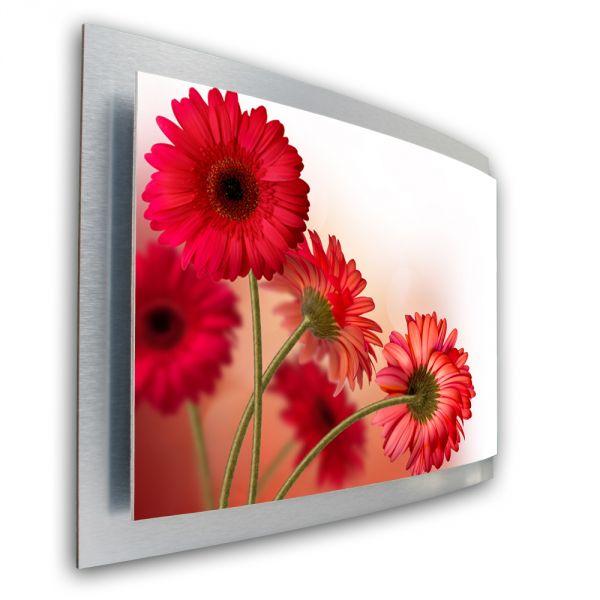 3D Wandbild Flower aus gebürstetem Aluminium