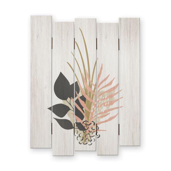 Abstrakt Floral | Shabby chic Holzbild | ca.60x44cm