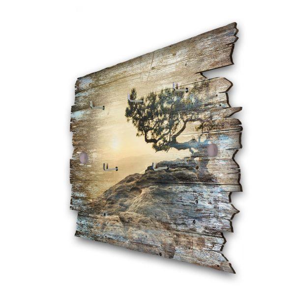 Einsamer Baum Schlüsselbrett mit 5 Haken im Shabby Style aus Holz