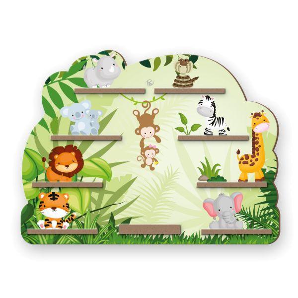 """""""Dschungel"""" Regal für Musikbox und Figuren fürs Kinderzimmer aus MDF"""