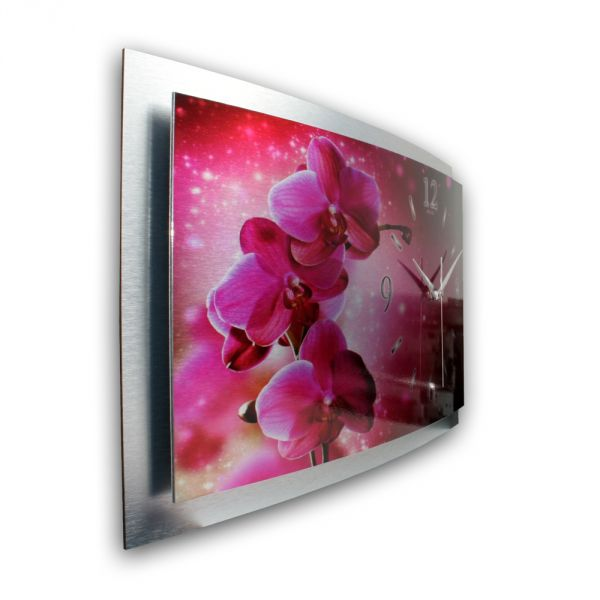 3D Wanduhr Orchidee pink aus gebürstetem Aluminium mit leisem Funk- oder Quarzuhrwerk
