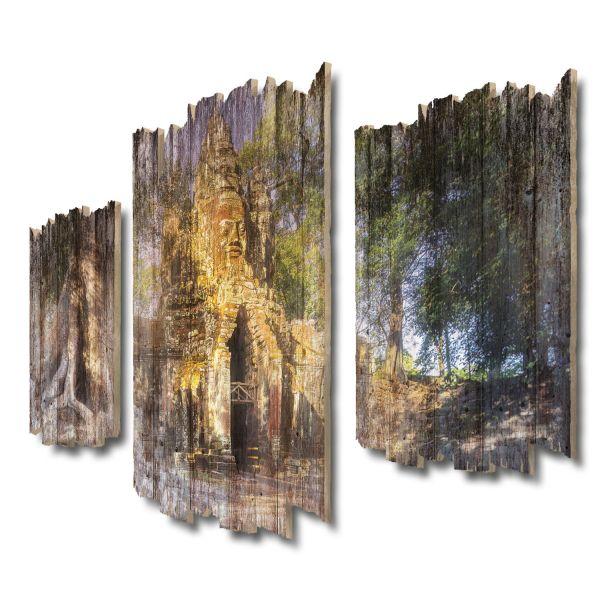 Angkor Wat Ruinen Shabby chic 3-Teiler Wandbild aus Massiv-Holz