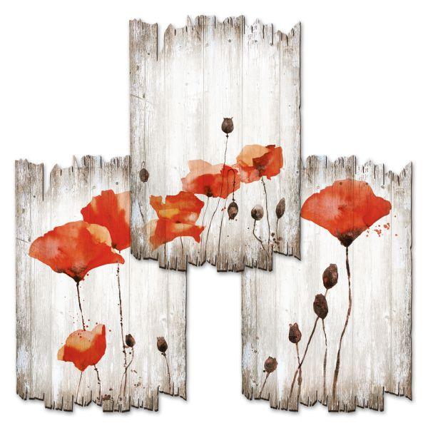 Mohn | Deko-Holzschilder im 3er Set | wahlw. in 30x20cm oder 30x45cm