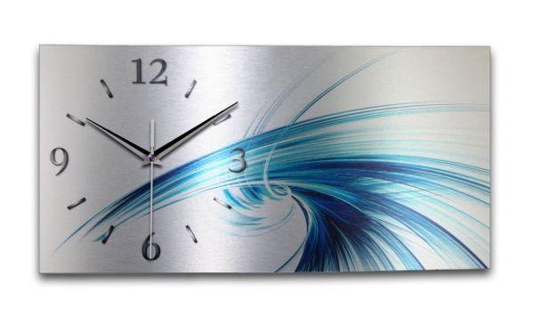 Wanduhr Abstrakt Blau aus Alu-Verbund mit leisem Funkuhrwerk