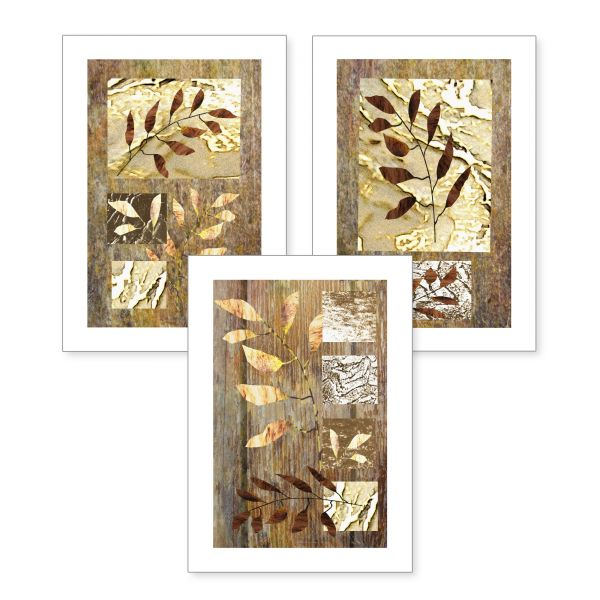 3-teiliges Poster-Set | Goldene Zweige | optional mit Rahmen | DIN A4 oder A3