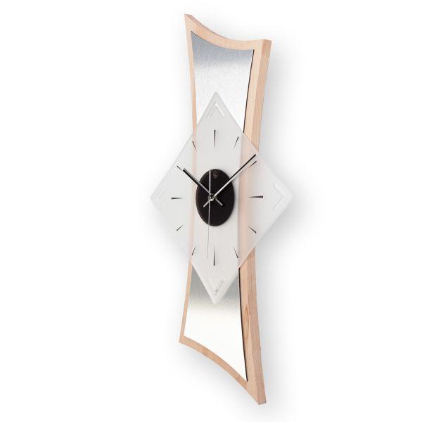 """Designer Funk-Wanduhr """"Buche"""" aus Massivholz mit leisem Funk- oder Quarzuhrwerk"""