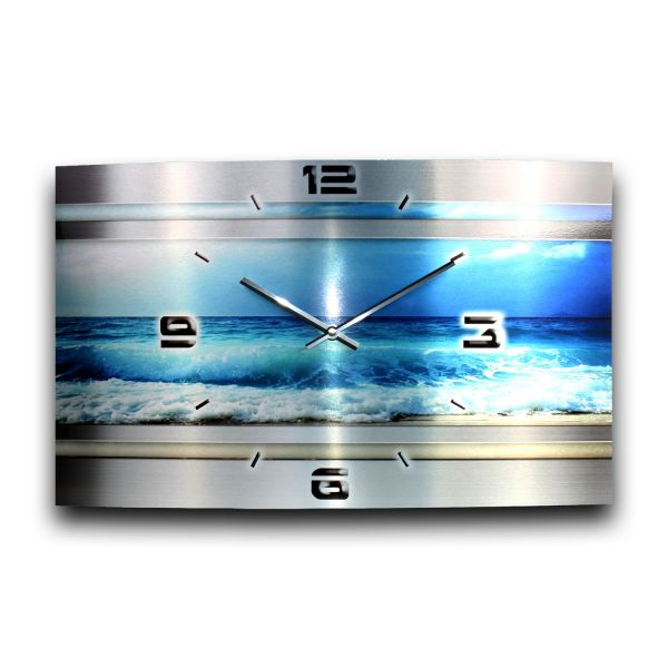 Wanduhr Blue Ocean Metallic aus gebürstetem Aluminium mit leisem Funkuhrwerk