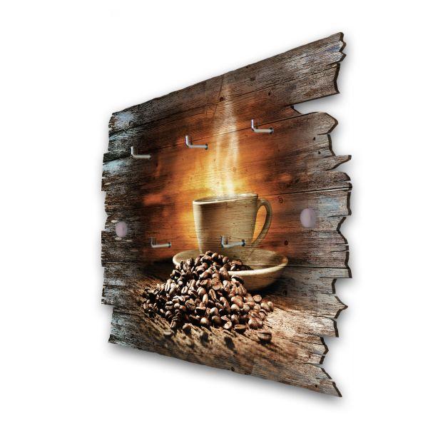 Kaffeegenuss Schlüsselbrett mit 5 Haken im Shabby Style aus Holz
