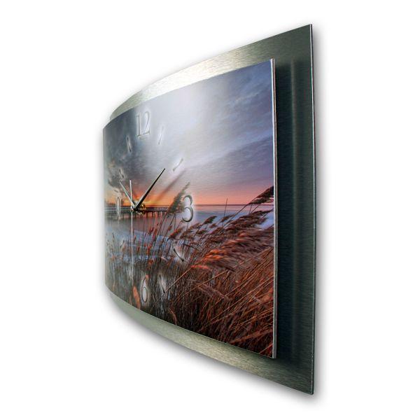 """3D Wanduhr """"Morgensonne Strand"""" aus gebürstetem Aluminium mit leisem Funk- oder Quarzuhrwerk"""