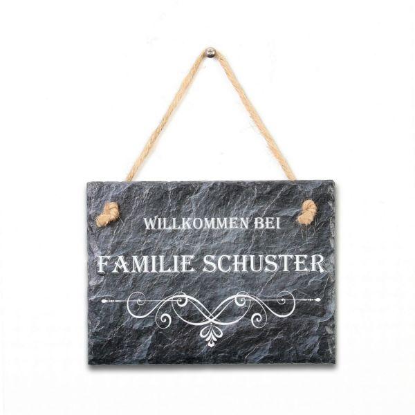 Willkommen Türschild Ornament mit Wunschtext aus Naturschiefer