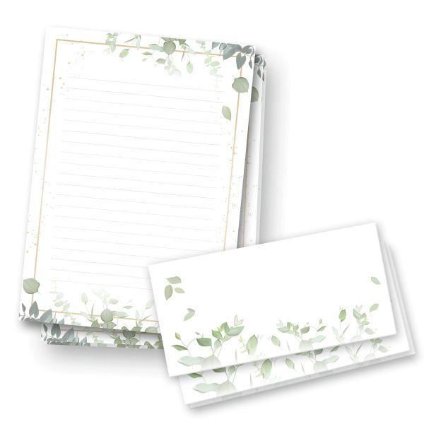 Briefpapier-Set   Junge Blätter   25x DIN A4 Briefpapier liniert mit passenden Umschlägen