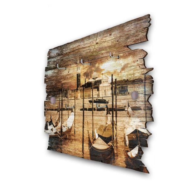 Abendliches Venedig Schlüsselbrett mit 5 Haken im Shabby Style aus Holz